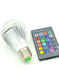 E26/E27 3 W 3 X High Power LED  RGB Remote-Controlled Globe Bulb  AC 85-265 V