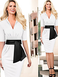 Para Women's Vintage/Sexy/Bodycon/Party/Work ½ Length Sleeve Dresses (Cotton Blend/Polyester)