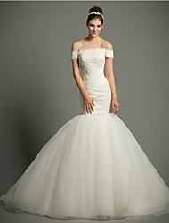 Fit & Flare Court Train Wedding Dress -Off-the-shoulder Lace