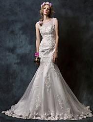 Trumpet/Mermaid Court Train Wedding Dress -Jewel Tulle