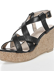 Women's Shoes Leather Wedge Heel Wedges/Open Toe Sandals Casual Black/Yellow