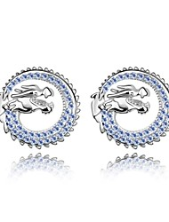 Dragon Soaring Drop Earring Plated with 18K True Platinum Light Sapphire Crystallized Austrian Crystal Stones