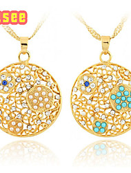 18K Golden Plate Rhinestone Pendant Necklace With Imitation Pearl