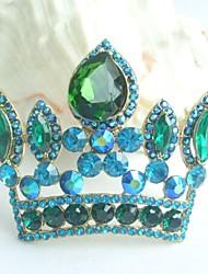 Women Accessories Gold-tone Turquoise Green Rhinestone Crystal Crown Brooch Art Deco Brooch Bouquet Women Jewelry