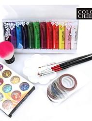 9PCS Acrylic Nail Nail Art Suit within 12-Color Acrylic Nail Art Painting Pigment Kits