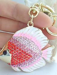 Charming Fish Flatfish Key Chain With Pink & Red Rhinestone crystals