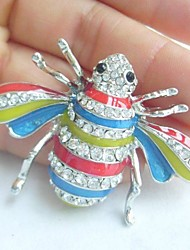 Enamel Insect Brooch Bee Honeybee Brooch Pin With  Clear Rhinestone Crystal
