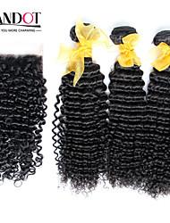 3 пучки Малайзии вьющиеся волосы девственница с закрытием необработанного человеческого переплетения волос и бесплатным / средняя часть
