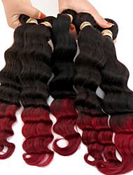 3pcs / lot 6a extensão do cabelo ombre dois tons # 1b / burg brasileiro profundo ondulado weave do cabelo humano ombre