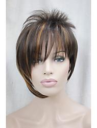 асимметричные коричневый микс клубники блондинка наклонные челка короткий прямой синтетические волосы женщин парик
