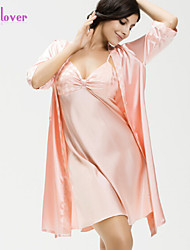 Nuisette & Culottes / Chemises & Blouses / Robe de chambre / Satin & Soie / Ultra Sexy / Costumes Vêtement de nuit Femme Couleur Pleine
