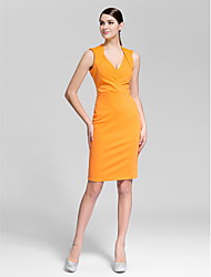 Cocktail Party Dress Sheath / Column V-neck Knee-length Polyester with