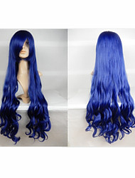 Hot Sale 40 Inches High Temperature Fiber Long Curly Ink blue Cosplay Costume Wig Side Bang