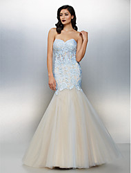 TS Couture Formal Evening Dress - Color Block Fit & Flare Sweetheart Floor-length Lace Tulle with Lace