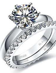 1.5CT Engagement Ring 0.55CT Band Ring Sterling Silver Jewelry Set SONA Synthetic Diamond Ring Set Women Platinum Plated