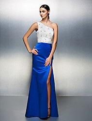 Formal Evening Dress - Multi-color Plus Sizes / Petite Sheath/Column One Shoulder Floor-length Satin