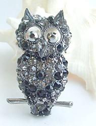 Women Accessories Black Gray Rhinestone Crystal Brooch Art Deco Bird Owl Brooch Women Jewelry