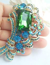 Women Accessories Gold-tone Turquoise Green Rhinestone Crystal Brooch Bouquet Art Deco Flower Brooch Women Jewelry