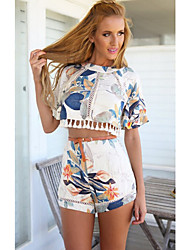 Women's Print Round Short Sleeve Suits (Knitwear)