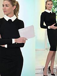 Vestidos ( Poliéster )- Bodycon/Casual Cuello de camisa Manga Larga
