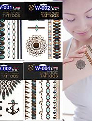 New 2015 Fluorescent Tattoo Stickers Luminous Metal Tattoo Stickers Hot Stamping Tattoo Paste Waterproof(1pcs)