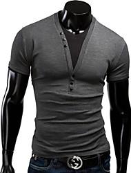 Informell Langarm - MEN - T-Shirts ( Baumwolle )