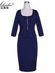 Aold®women's square neck five Quarter Sleeve pure colour sllim pencil skirt dress(Spandex/Polyester)