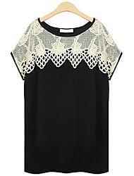 De las mujeres Camiseta - Ahuecado Escote Redondo - Algodón - Manga Corta