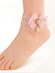 Women Fashion Body Jewelry Summer Beach Gothic Style Charm Vintage Casual Lace Pink Bow Pearl Anklets