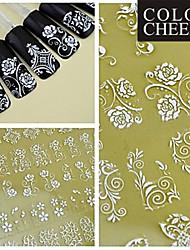 108PCS Mixed Flower Pattern White  Nail Art Stickers