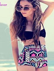 Women's Halter Bikinis , High Rise/Color Block/Floral/Bandage Push-up/Underwire Bra/Padless Bra Polyester/Spandex Black