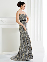 TS Couture Formal Evening Dress - Black A-line Sweetheart Sweep/Brush Train Sequined