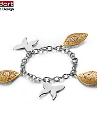 316L Stainless Steel Chain Bracelet with IP Gold Charming CZ Stones Inside & Butterfly Charming for Women