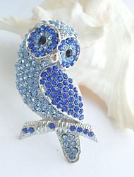 Women Accessories Silver-tone Blue Rhinestone Crystal Brooch Art Deco Bird Owl Brooch Women Jewelry