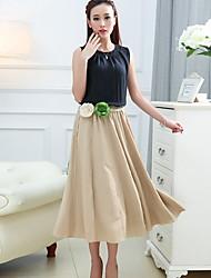 Costumes ( Coton/Lin ) Vintage/Informel Rond à Sans manche pour Femme