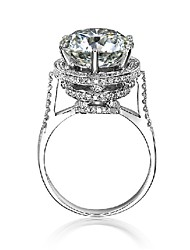 5CT Excellent Brilliant Jewelry Sterling Silver Ring for Women Engagement Jewelry Paved Wedding Ring Platinum Plated
