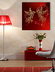 E-HOME® Stretched LED Canvas Print Art  Phoenix Bird LED Flashing Optical Fiber Print