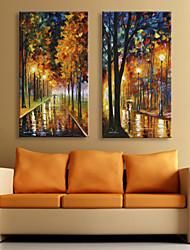 E-HOME® Stretched LED Canvas Print Art Rainy Night Street Lights LED Flashing Optical Fiber Print Set of 2