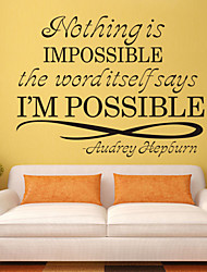 Wall Stickers Wall Decals Style Nothing is Impossible English Words & Quotes PVC Wall Stickers