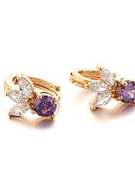 Sjeweler New Style Female Gold-Plated Purple Zircon Earrings