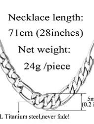 u7® nunca desaparecer 316l aço inoxidável Figaro robusta cadeia colar dos homens para homens 5 milímetros, 28inches (71 centímetros)
