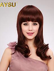Sweet Capless Medium Length Curly Human Hair Wigs with Full Bang