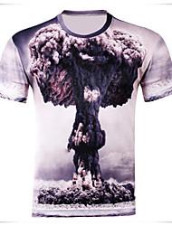 Sexy/Bodycon/Bedruckt Rund/V-Ausschnitt - Kurzarm - MEN - T-Shirts ( Baumwoll Mischung )
