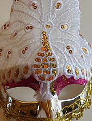 pavão exibido multa partido cauda pena de cor halloween máscara do disfarce branco