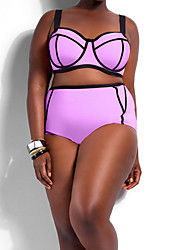Women's Push-up High Rise Halter Bikinis Plus Size