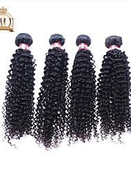 "4Pcs Lot 12-26"" Unprocessed Peruvian Virgin Hair Kinky Curly Wavy Curly Natural Black Remy Human Hair Weave/Bundles"