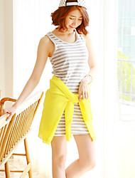 Women's Sexy/Casual Micro-elastic Sleeveless Long Stripe Vest (Cotton)