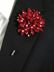 Men's Casual Red And White Dots Silk Goods Brooch