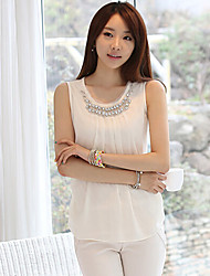 Women's Sleeveless Strapless Bead Chiffon Shirt