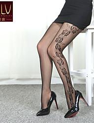 SKLV Women's Mesh/Nylon Thin Cut Out Translucence Rose Pantyhose